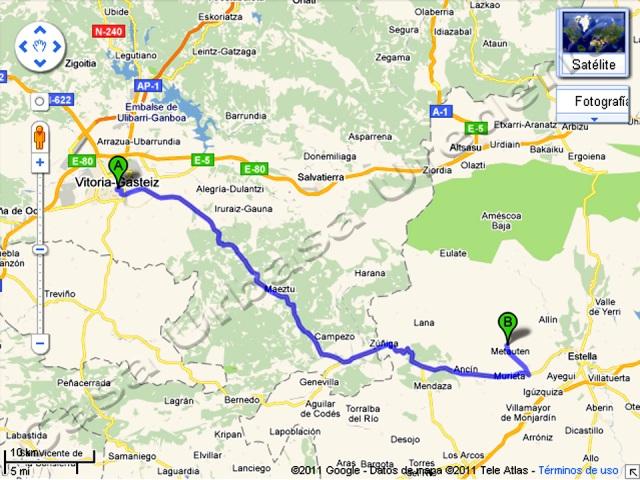 después de pasar el aeropuerto de Foronda, tomar la salida de la N-1 con dirección a Pamplona.   A unos 4 km salir por la salida Nº 357 que indica en un panel azul Estella- Lizarra y Arkaute. Seguiremos hacia Vitoria pasando por Elorriaga. Al llegar a Elorriaga hay un cruce a la izda. Desde este punto coger la A-132 en dirección hacia Estella. Seguir por la A-132 hasta la Muga con Navarra. Aquí cambia la ctra a la NA-132 A para pasar por Acedo y llegar a Murieta, situada en el Km 11. Seguir en dirección a Estella y en el km 7 coger la desviación de la dcha. Este cruce está situado en una curva trazada a la dcha. con marcas blancas en el asfalto. La desviación marca NA-7310 con dirección de Zufía- Ganuza.